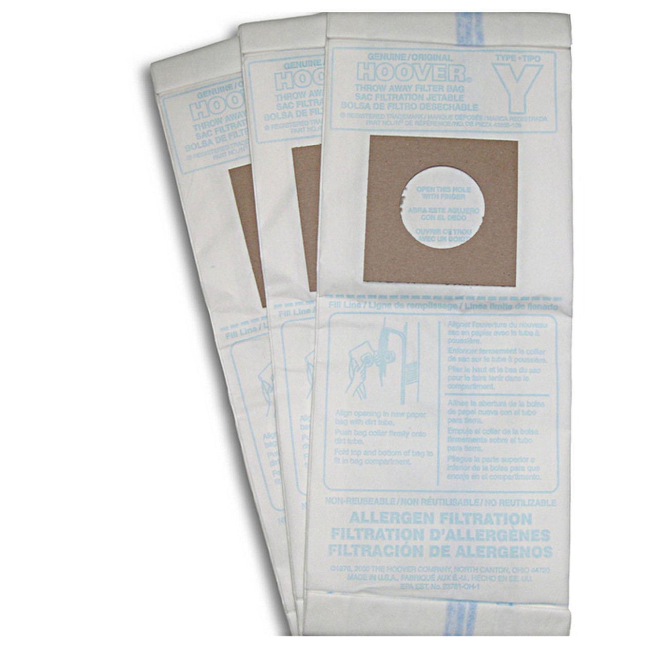Type Y Filter Bags Come 3 to a Package.