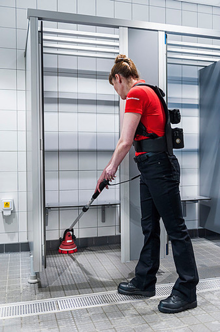 Clean shower stalls and floors without getting your hands dirty.