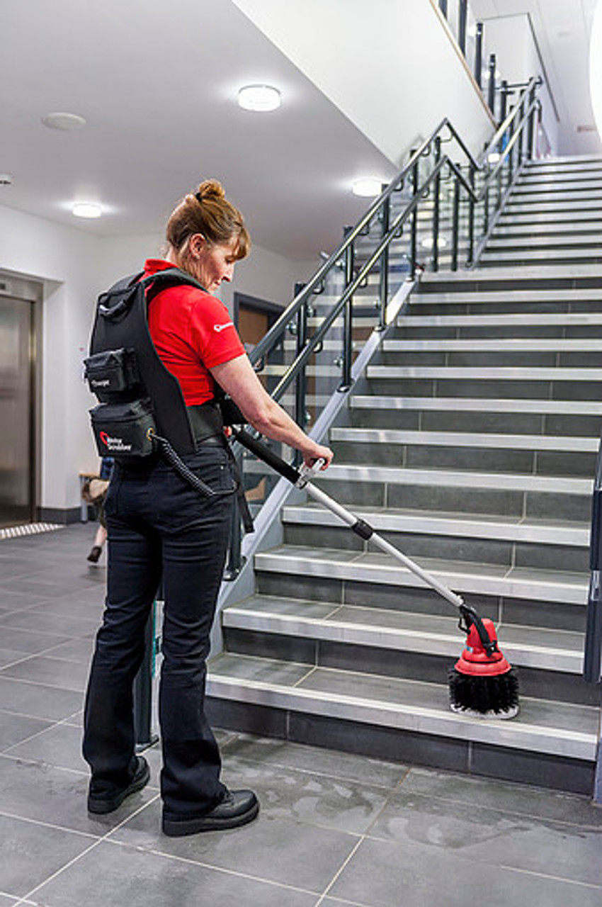 Motor Scrubber makes cleaning stairs quick and easy!