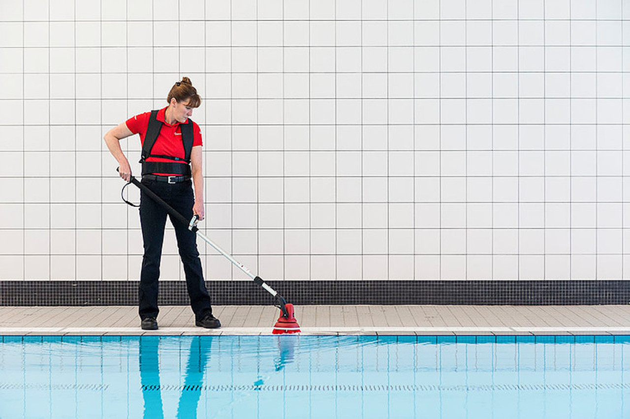 The Motor Scrubber head is 100% submersible for cleaning in pools.