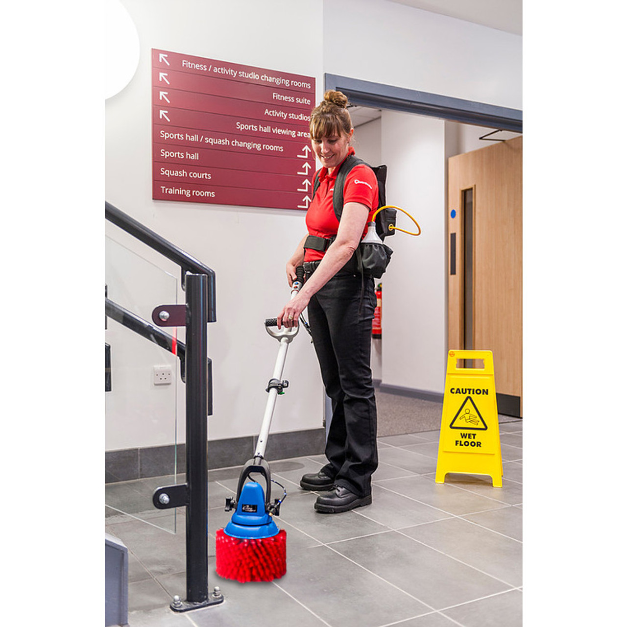 With the Jet and your solutions, the new stair brush makes quick work of cleaning floors, risers and steps.