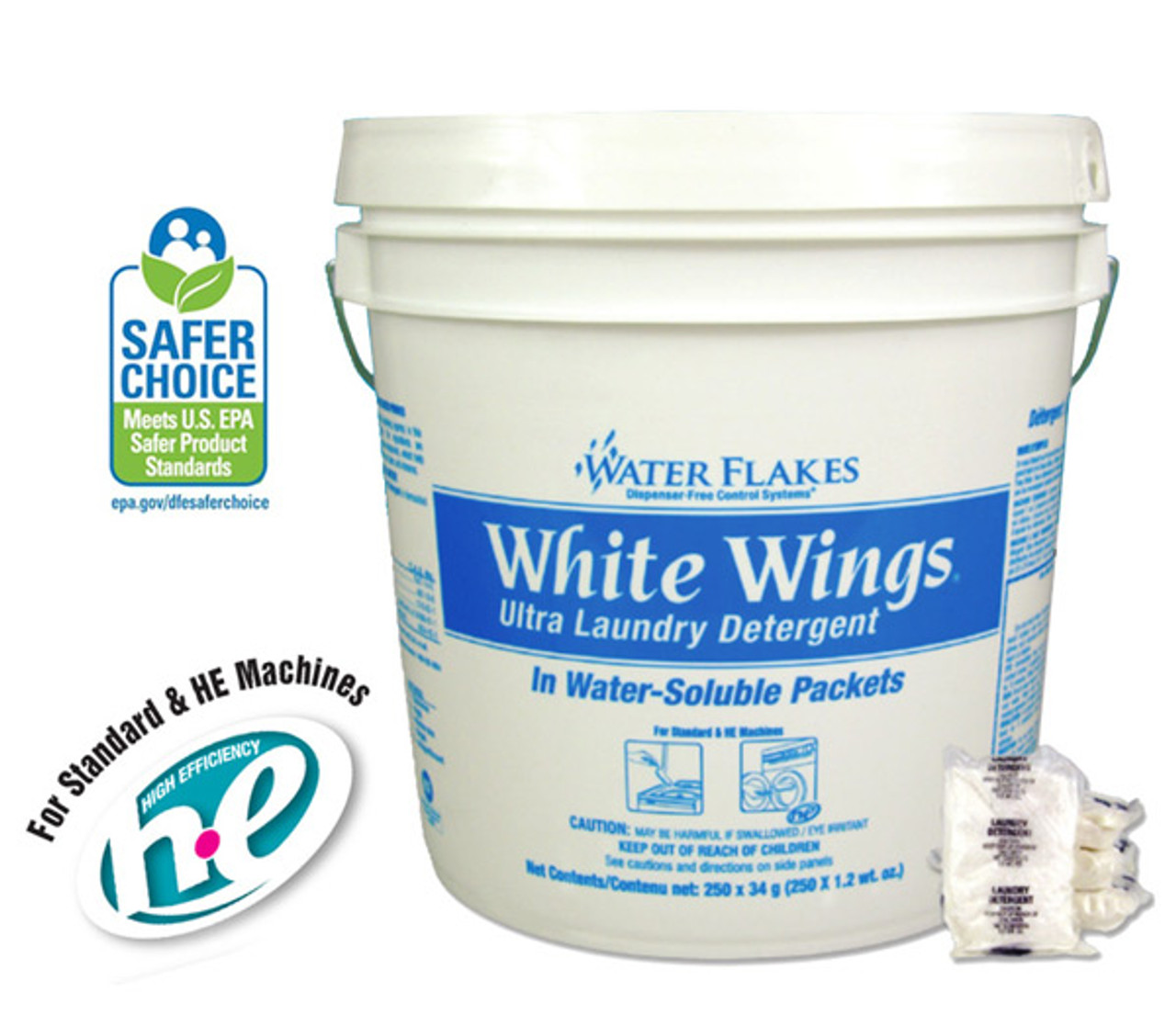White Wings Ultra Laundry Detergent Cleans and Brightens with No Phosphorous or Lye!