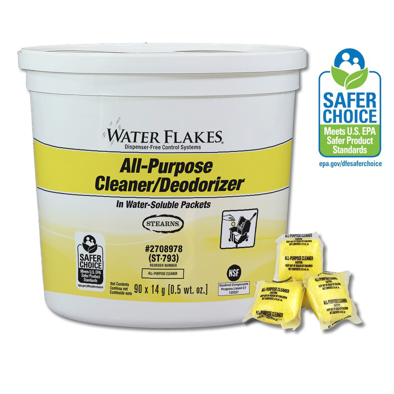 Water Flakes All-Purpose Cleaner Deodorizer is a perfect cleaner for stainless steel, chrome, porcelain, quarry tiles, terrazzo, marble, concrete and most ceramics and painted surfaces.