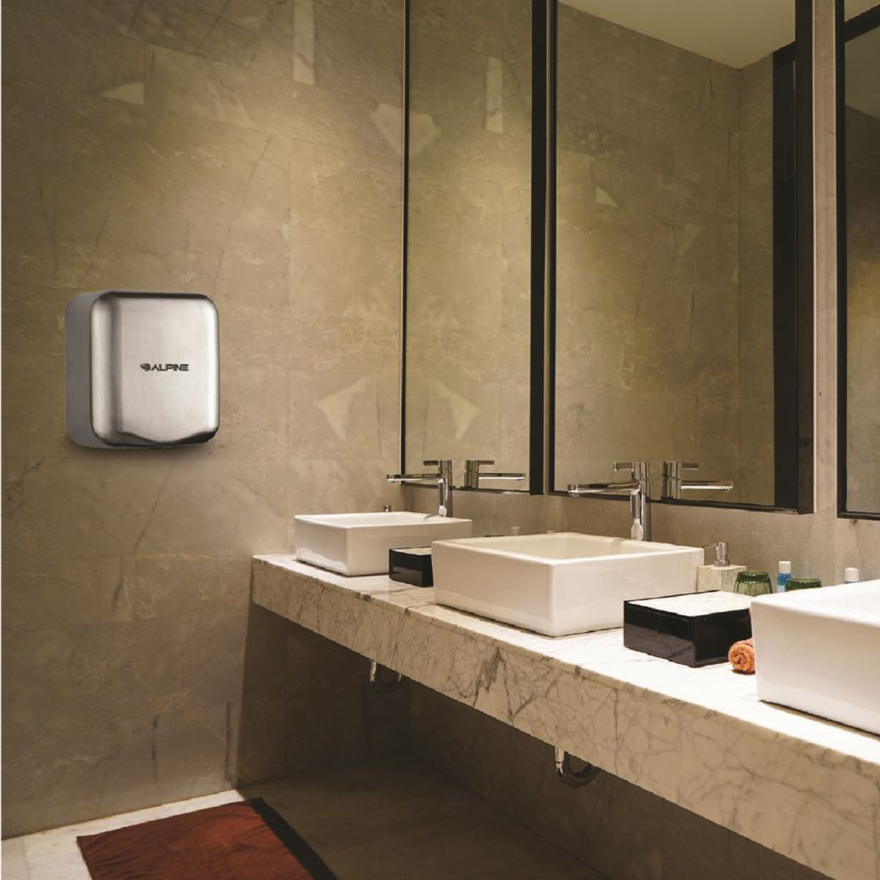 The Brushed Stainless Steel Hemlock Hand Dryer will make your restroom look more upscale.