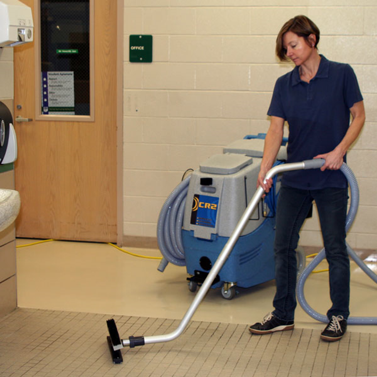 The CR2 restroom cleaning machine combines a pressure washer with a powerful vacuum system for Touch-Free cleaning that effectively deep cleans restrooms in public facilities.