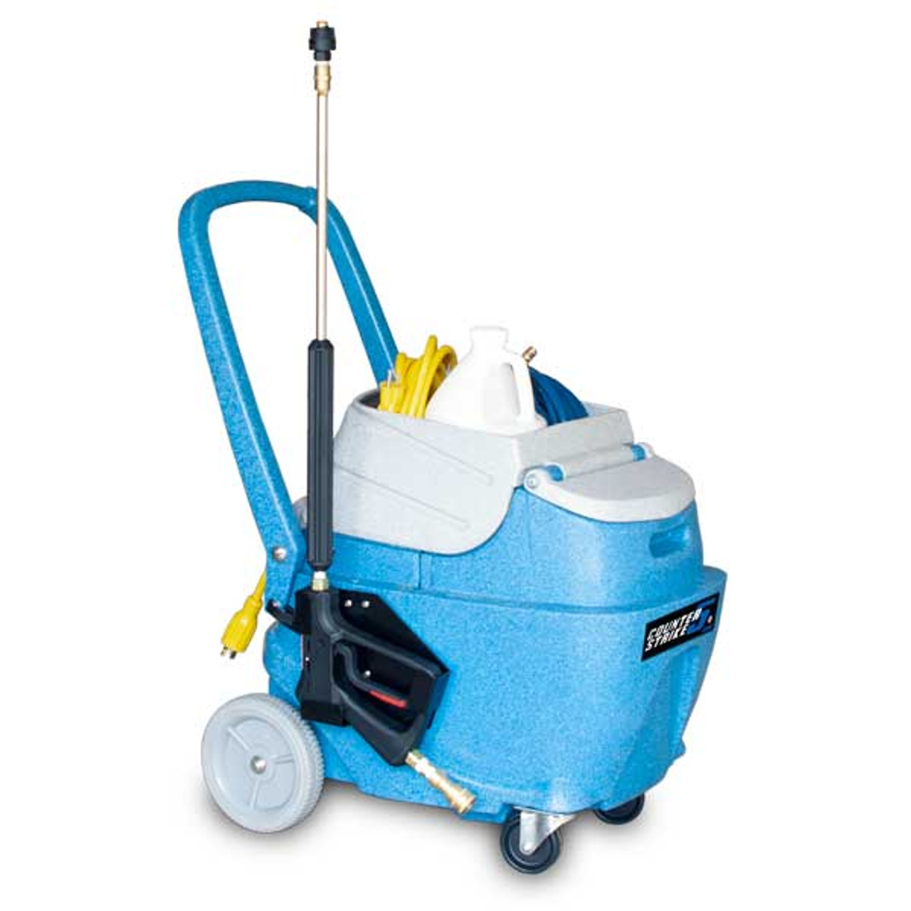 Counter Strike provides the operator with a chemical application gun that quickly applies disinfecting chemical onto surfaces in a fine mist for optimum coverage.
