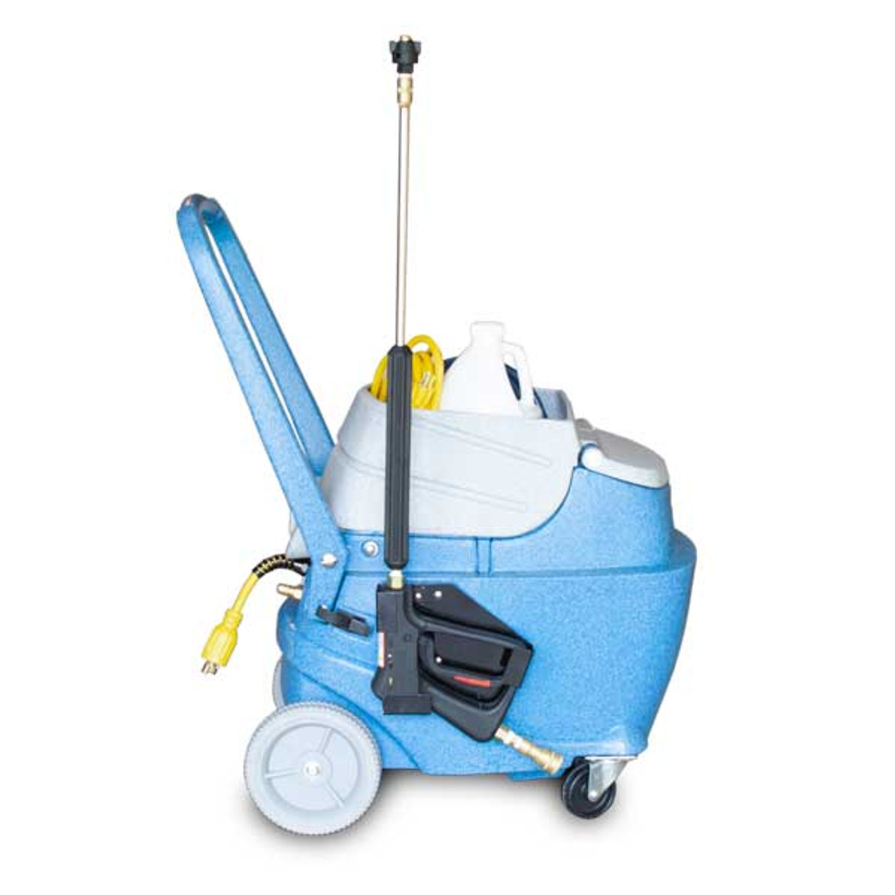 Top mounted tool caddy for easy transport of chemical, solution hose, and power cord.