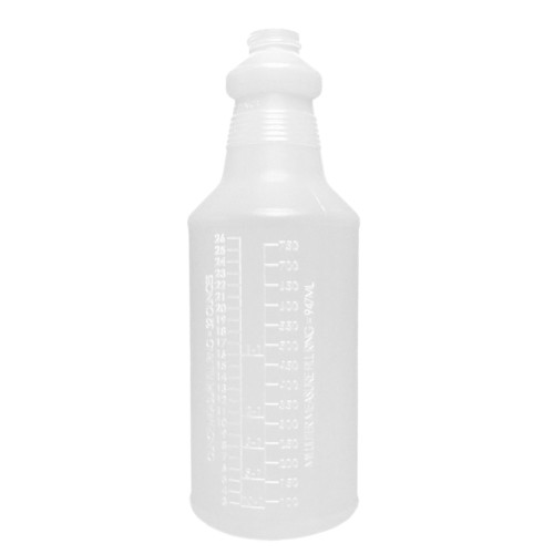 "32oz round spray bottle uses a sprayer with a 9-1/2"" dip tube."
