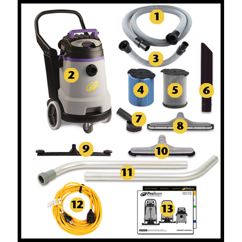 The ProGuard 15 Includes:  1. Hose – 10-foot   2.ProGuard 15 Wet/Dry Vacuum   3. Front Mount Squeegee Hose    4. Fine Dust Filter    5. Wet Filter    6. Crevice Tool    7. Soft Dusting Brush   8. Squeegee    9. (optional) Front Mount Squeegee   10. Hard Floor Tool    11. Two-Piece Wand    12. 50' Extension Cord   13. Literature Kit