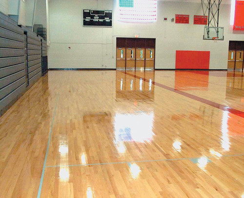 This gym floor is not only protected with Durability+ but has a gorgeous gloss as well.