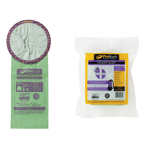 Genuine ProTeam Micro Filter Bags for 6qt. Backpack Vacuums.