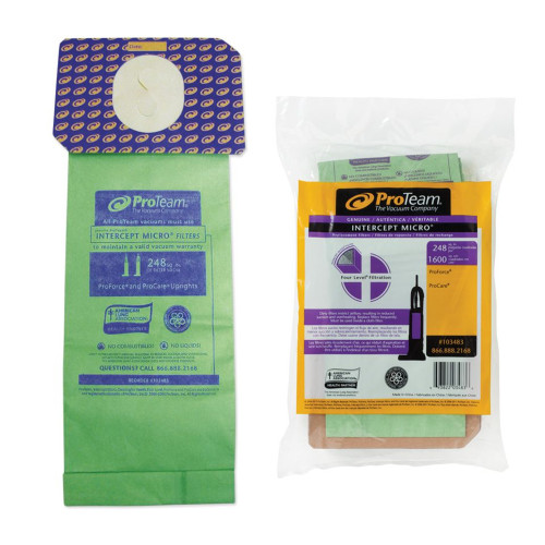 Genuine ProTeam Intercept Micro Filter Bags for ProForce Vacuums.