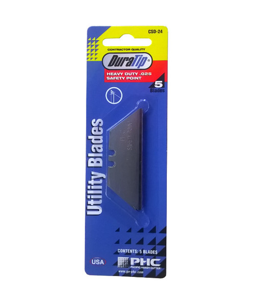 The DuraTip utility knife blade features an innovative blunt safety point to reduce accidental cuts.
