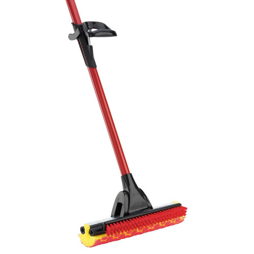 "The 955 Roller Mop has a tear resistant, synthetic sponge with raised cleaning circles and scrub brush with .75"" long stiff bristles."