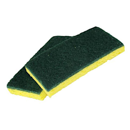 Medium Duty Scouring Sponge has Tough Fibers on One Side, Sponge on the Other.