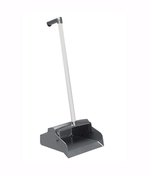 "The Lobby Master Upright Dust Pan features a unique ""L-grip"" handle for ease of use."