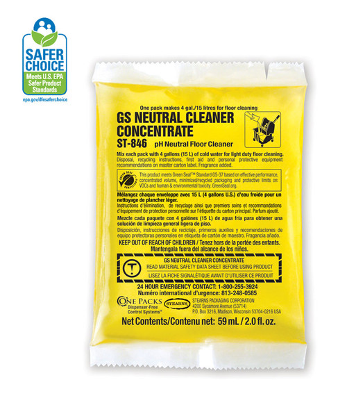 Stearns Neutral Cleaner is Green Seal Certified in Easy to Use Pre-Measured Packets.