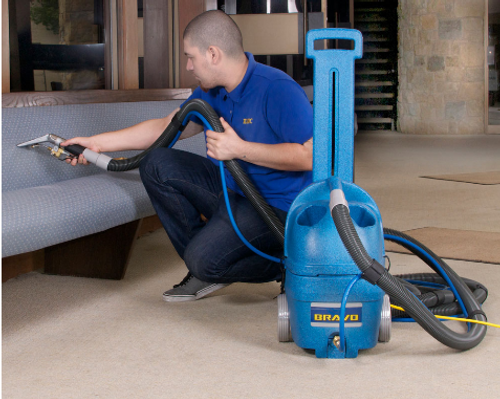 The Bravo Compact Extractor makes quick work of upholstery cleaning!