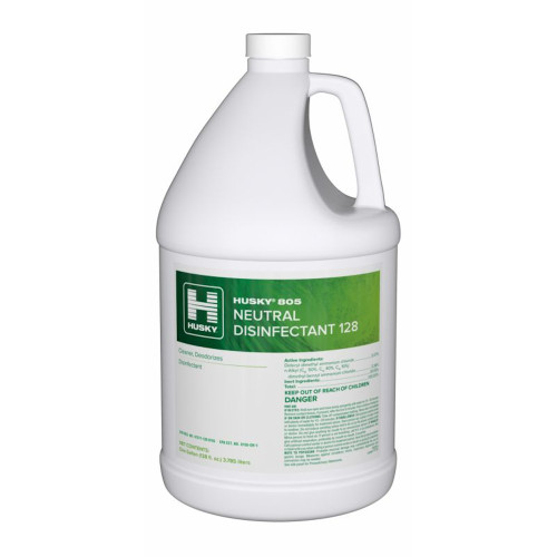 Husky 805 Neutral Disinfectant is an EPA registered Broad Spectrum Disinfectant cleaner perfect for finished non porous surfaces because of its neutral pH.