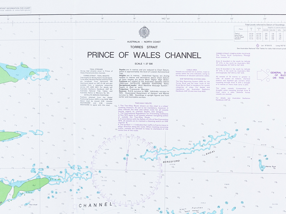 Prince of Wales Channel - Torres Strait Chart/Map