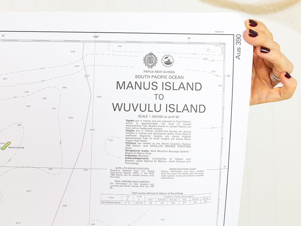 South Pacific - Manus Island to Wuvulu Island Chart/Map
