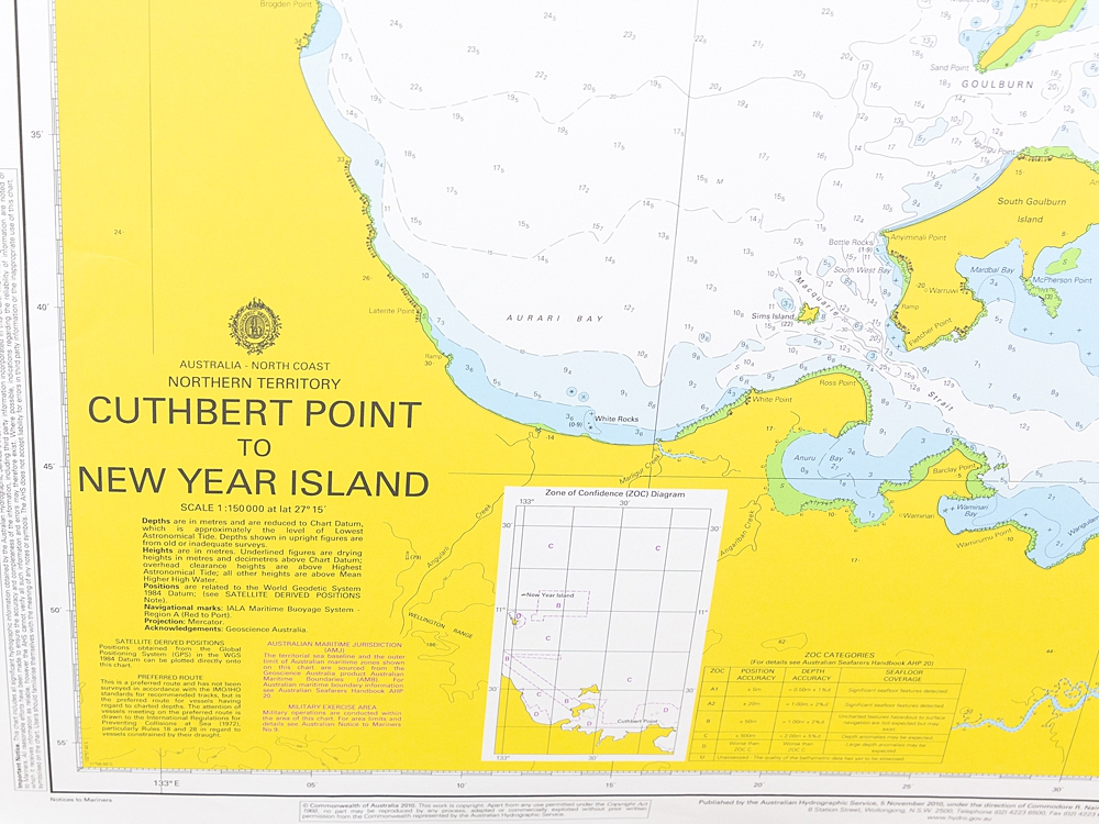 NT - Cuthbert Point to New Year Island Chart/Map