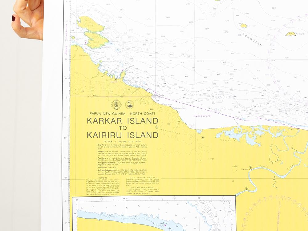 PNG - Karkar Island to Kairiru Island Strait Chart/Map