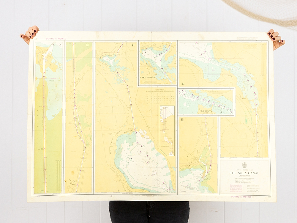 Africa - The Suez Canal Chart/Map