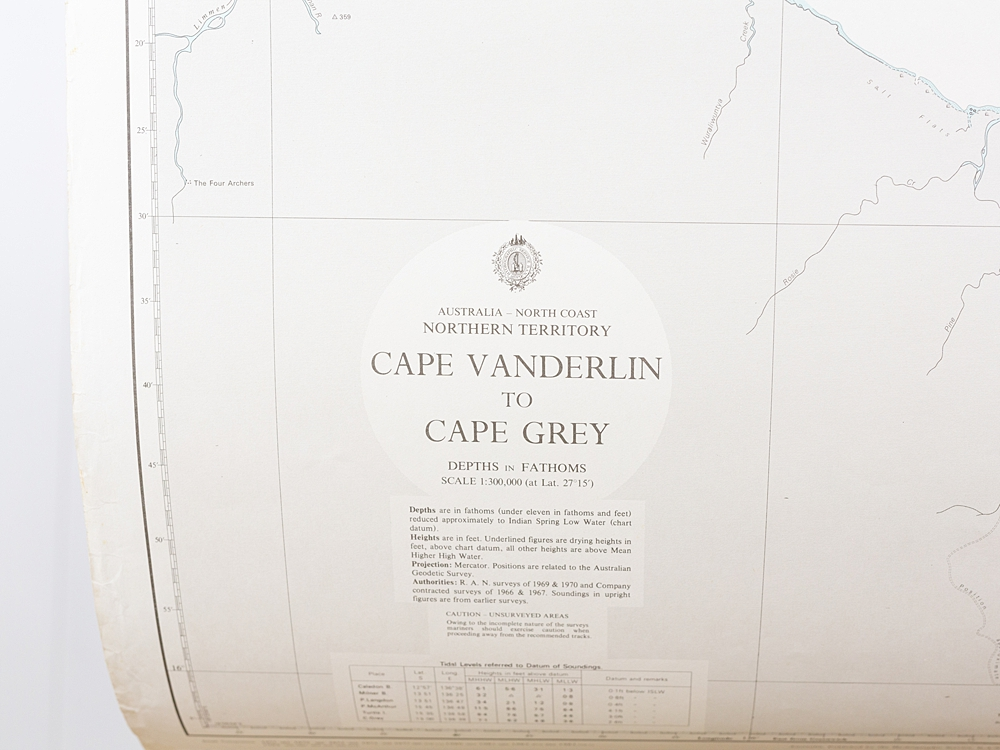 WA - Cape Vanderlin to Cape Grey Chart/Map