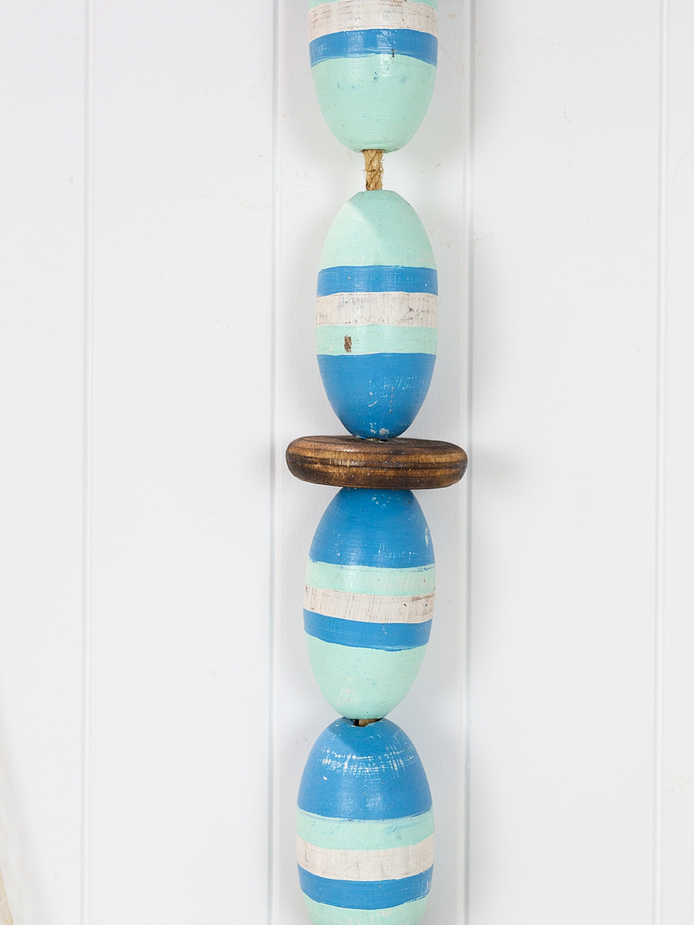 String of Wooden Oval Buoys - Blue & Mint