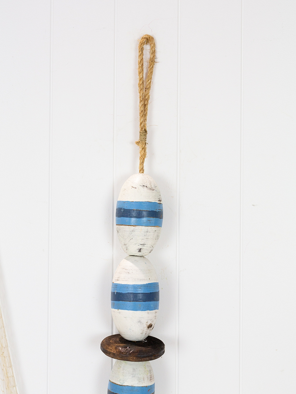 String of Wooden Oval Buoys - Blue & White