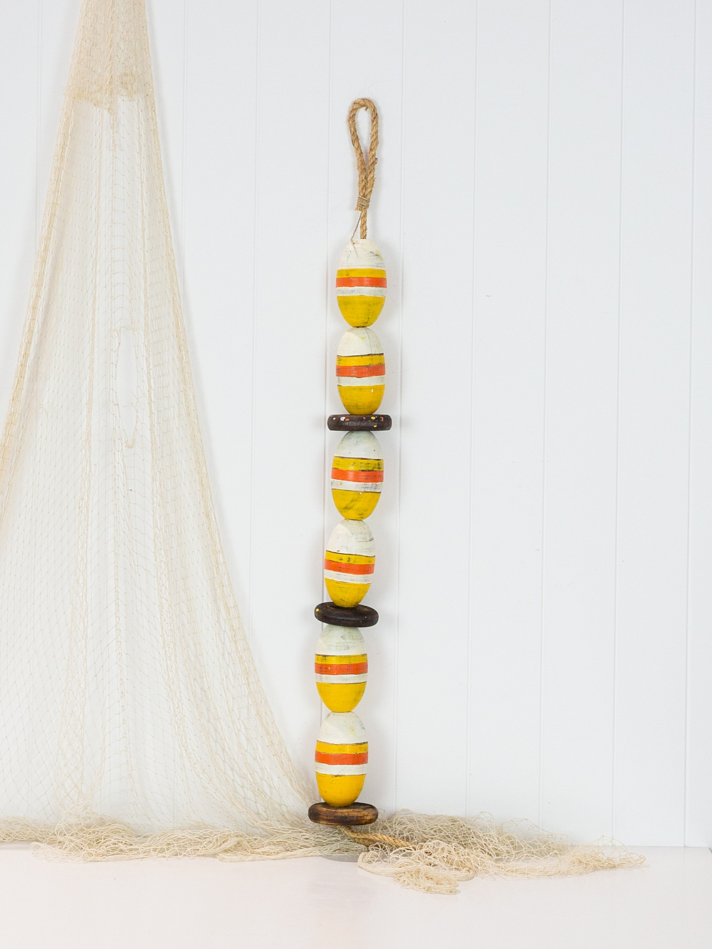 String of Wooden Oval Buoys - Yellow & White