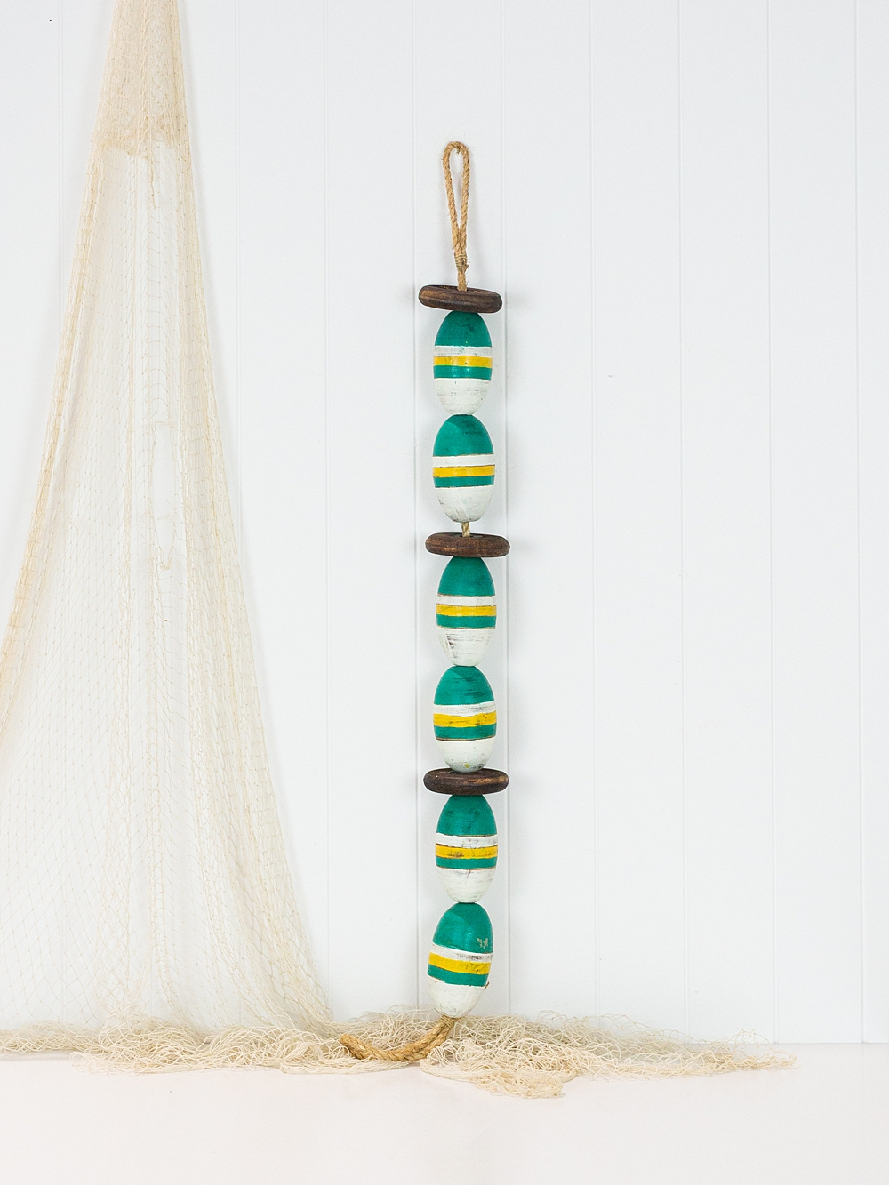 String of Wooden Oval Buoys - Green & White