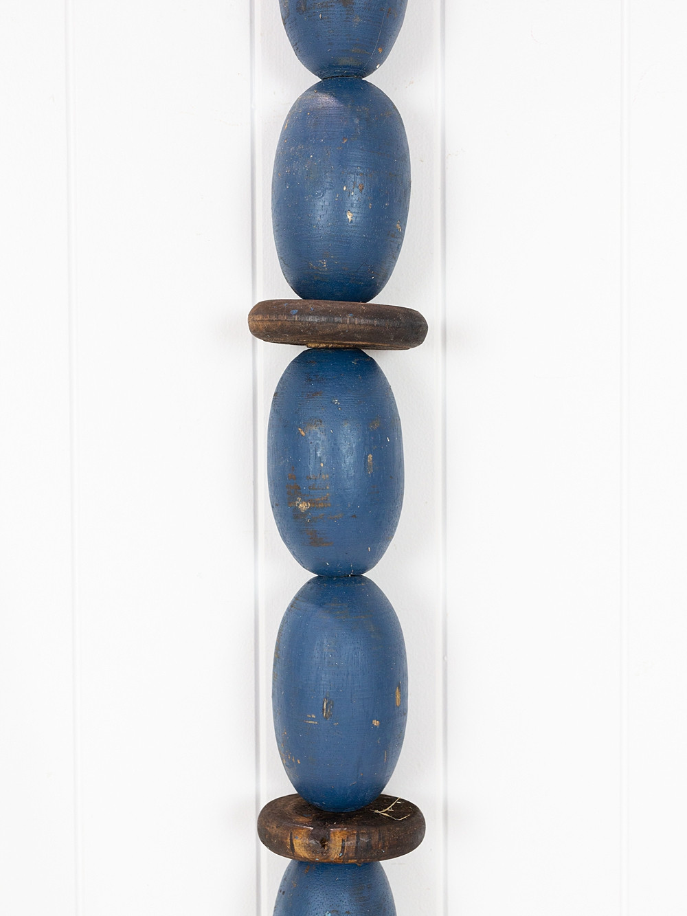 String of Wooden Oval Buoys - Navy Blue