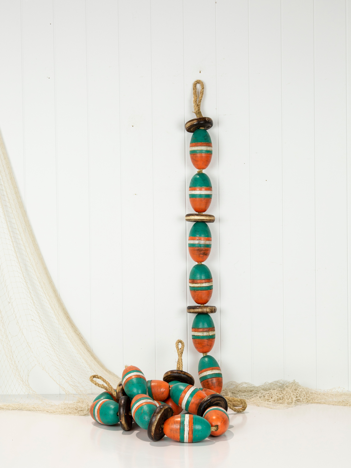 String of Wooden Oval Buoys - Green & Orange