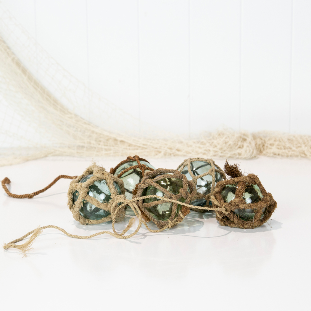 """2.5"""" Glass Float -Assorted Rope"""