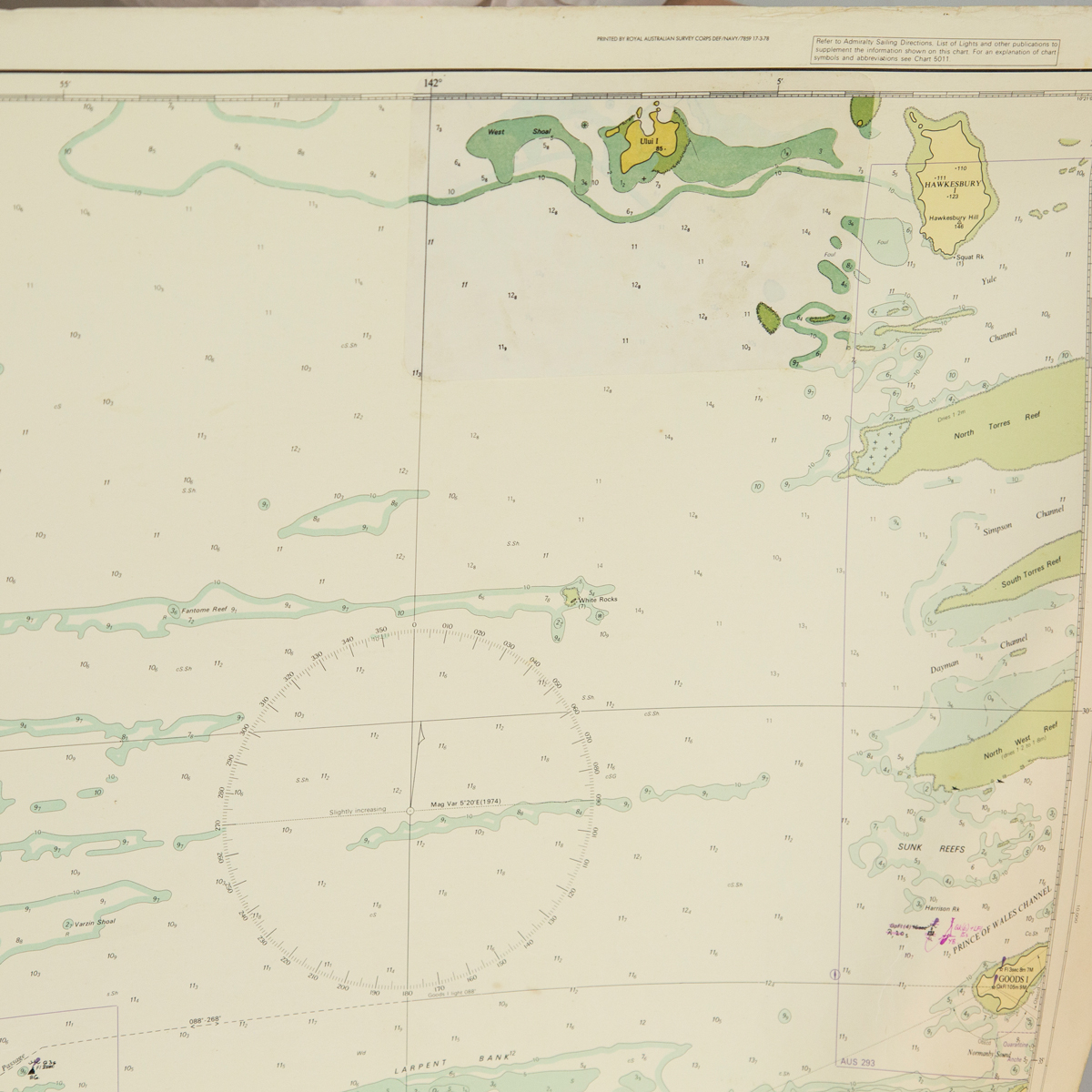 Torres Strait - Goods Island to Proudfoot Shoal Chart/Map (charted)