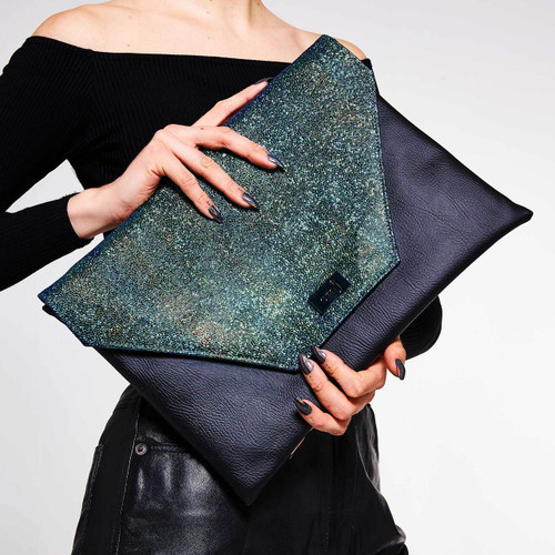 Neptune green oversized vegan clutch bag and laptop holder