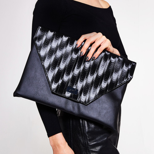 Raven oversized laptop and clutch bag