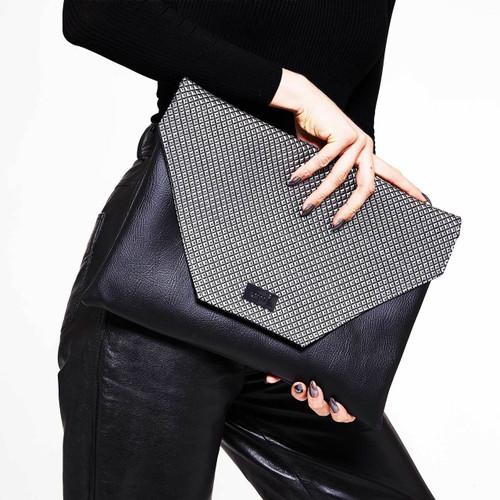Zinc metallic oversized clutch bag for laptops