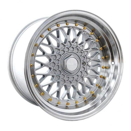 Dare DR RS Alloy Wheels Silver / Polished Lip Gold Rivet