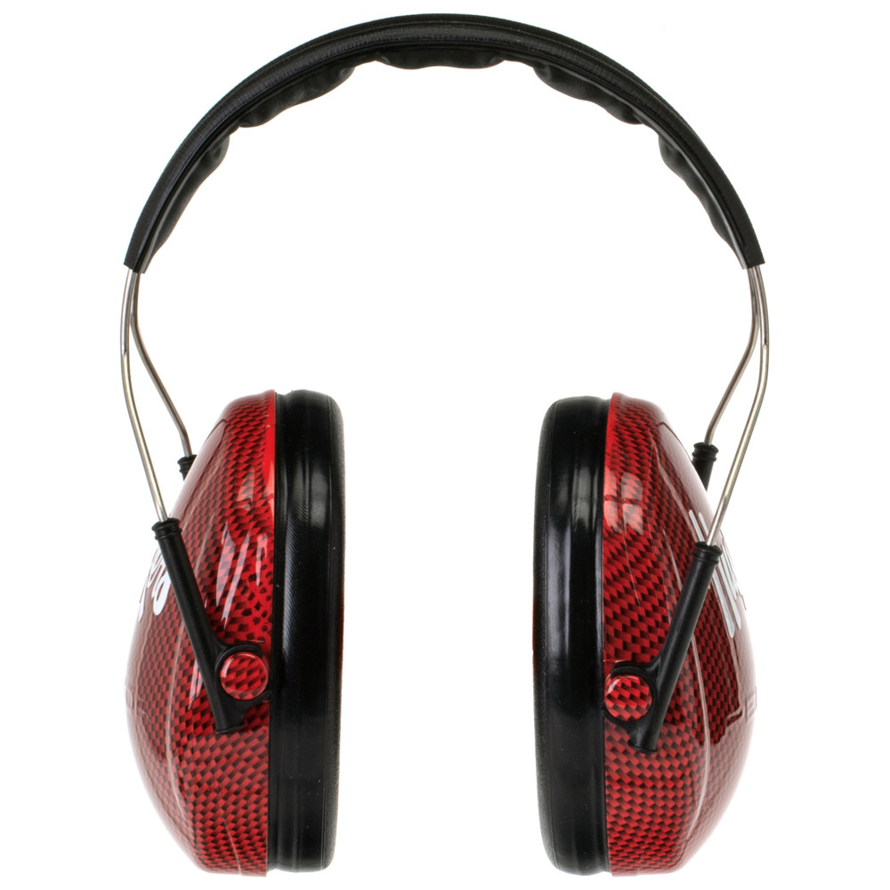 Officially Licensed University of Nebraska Huskers Red Carbon Fiber 3M™ Hearing Protection Earmuffs