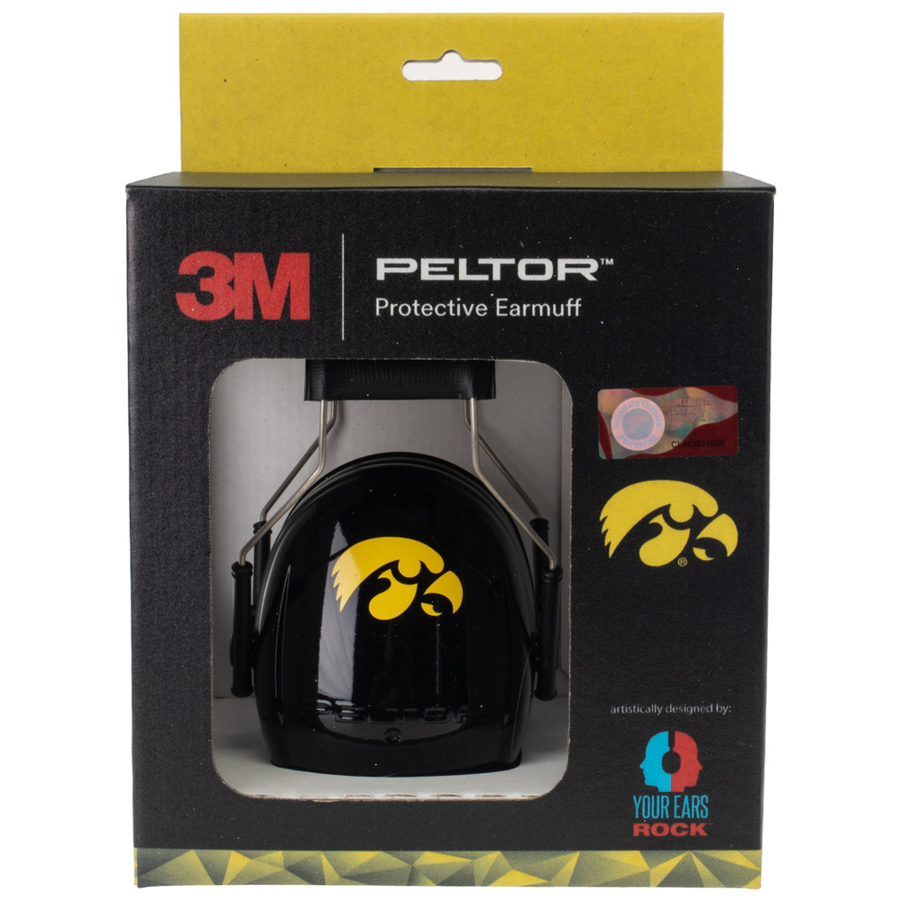 Officially Licensed University of Iowa Black Hearing Protection Earmuffs