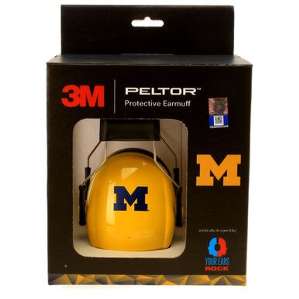 Officially Licensed University of Michigan Wolverines Maize 3M™ Hearing Protection Earmuffs