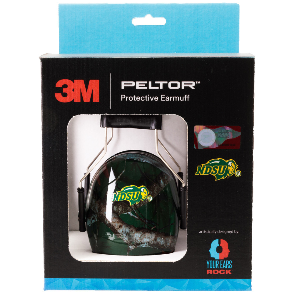 Officially Licensed North Dakota State University Bison Green Camo 3M™ Hearing Protection Earmuffs