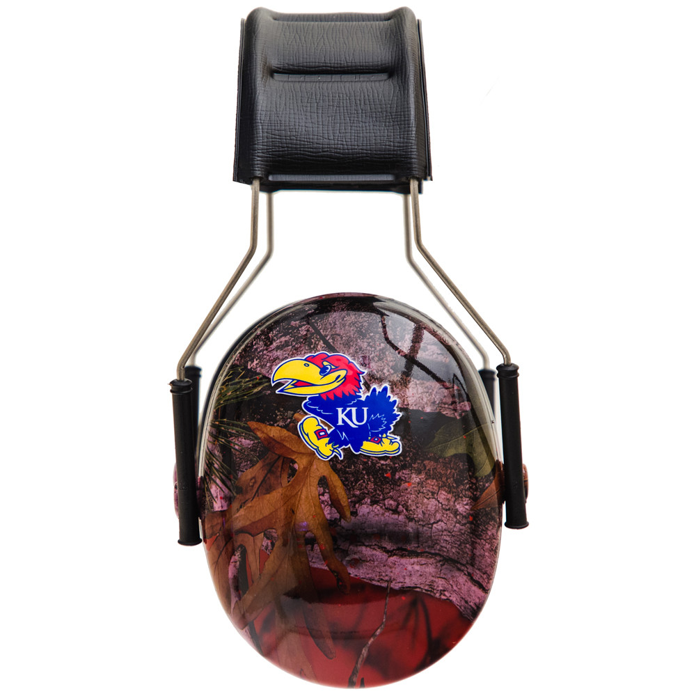 Officially Licensed University of Kansas Jayhawks Red Camo 3M™ Hearing Protection Earmuffs