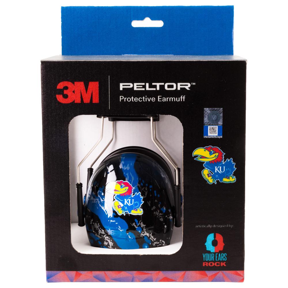 Officially Licensed University of Kansas Jayhawks Blue Splash 3M™ Hearing Protection Earmuffs