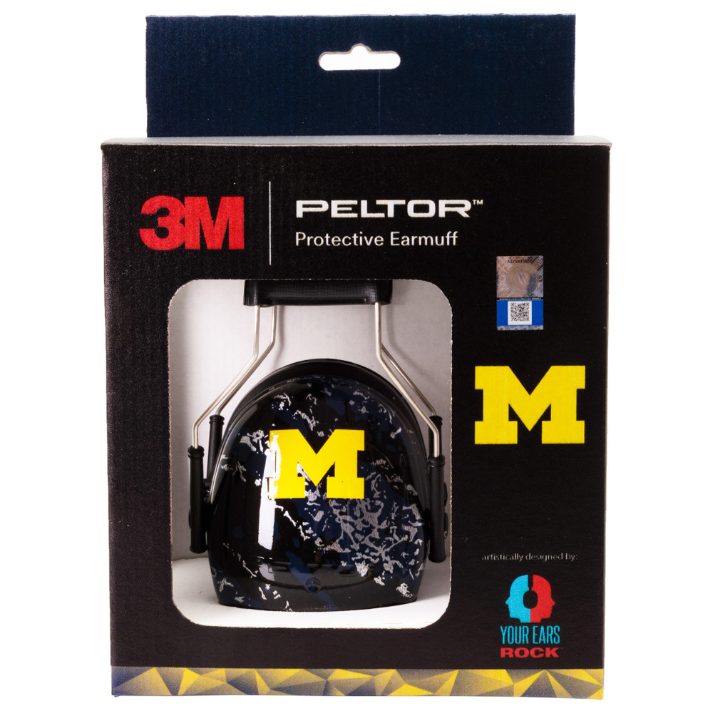 Officially Licensed University of Michigan Wolverines Blue Splash 3M™ Hearing Protection Earmuffs