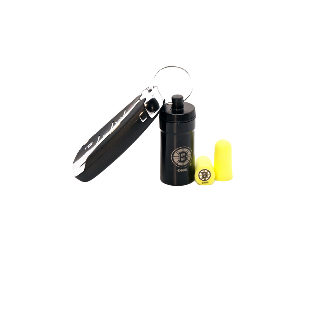Officially Licensed Boston Bruins 12-pack Foam Earplugs with Aluminum Laser-Engraved Keychain Container by 3M™