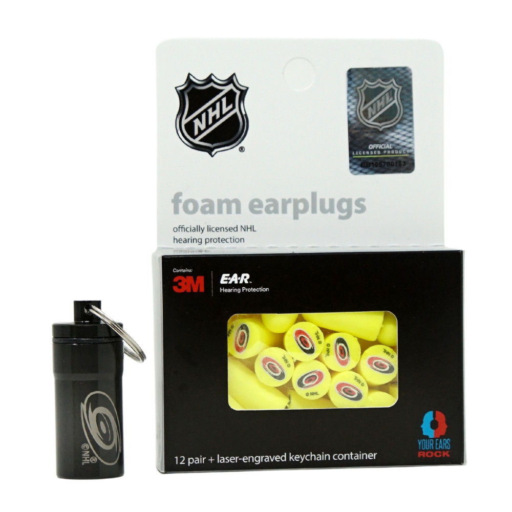 Officially Licensed Carolina Hurricanes 12-pack Foam Earplugs with Aluminum Laser-Engraved Keychain Container by 3M™